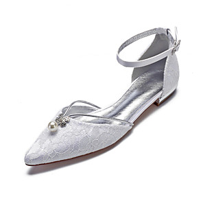 cheap Wedding Shoes-Women's Wedding Shoes Flat Heel Pointed Toe Rhinestone / Imitation Pearl Lace / Satin Classic / Sweet Spring & Summer / Fall & Winter White / Ivory / Party & Evening