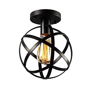 cheap Ceiling Lights-1-Light Vintage Industrial Metal Spherical Ceiling Light, Hallway Stairway Porch Bedroom Kitchen Ceiling Lamp