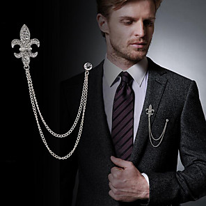 cheap Pins and Brooches-Men's Cubic Zirconia Brooches Stylish Link / Chain Statement Fashion British Brooch Jewelry Black / Gray Gold Silver For Daily Holiday