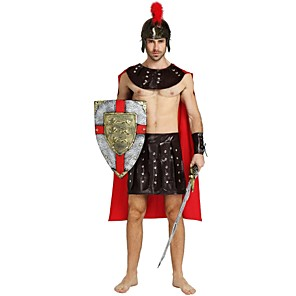 cheap Historical & Vintage Costumes-Soldier / Warrior Costume Adults Men's Ancient Greek Ancient Rome Halloween Halloween Carnival Masquerade Festival / Holiday Polyster Brown Carnival Costumes Solid Colored Halloween