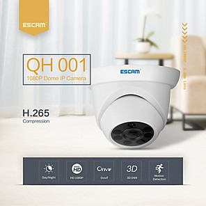 cheap Outdoor IP Network Cameras-ESCAM® QH001 ONVIF H.265 1080P P2P IR Dome IP Camera with Smart Analysis Function