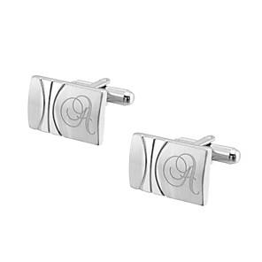 cheap Wedding Gifts-Personalized Chrome Cufflinks & Tie Clips Groom / Groomsman / Ring Bearer Wedding / Daily Wear -
