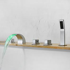 cheap Bathtub Faucets-Bathtub Faucet - Contemporary Chrome Widespread Ceramic Valve Bath Shower Mixer Taps / Brass / Three Handles Five Holes