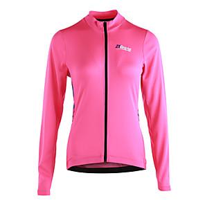 povoljno Biciklističke majice-21Grams Žene Dugih rukava Biciklistička majica - Pink Dungi Bicikl Biciklistička majica, Reflektirajuće trake Povratak džep 100% poliester / Mikroelastično / Napredan / YKK patent zatvarač
