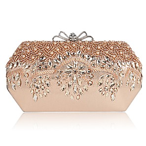 cheap Clutches & Evening Bags-Women's Beading / Crystals PU Evening Bag Black / Champagne / Gold / Fall & Winter