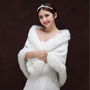 cheap Wedding Wraps-Sleeveless Shawls Faux Fur Wedding / Party / Evening Women's Wrap With Split