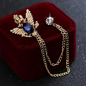cheap Pins and Brooches-Men's Cubic Zirconia Brooches Stylish Link / Chain Elegant Fashion British Brooch Jewelry Black Blue For Wedding Holiday