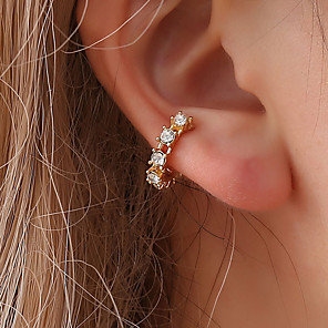 cheap Necklaces-Women's Cubic Zirconia tiny diamond Clip on Earring Ear Cuff Stylish Creative Dainty Ladies Fashion Cute Delicate Earrings Jewelry Gold / Silver For Wedding Party / Evening Daily Masquerade