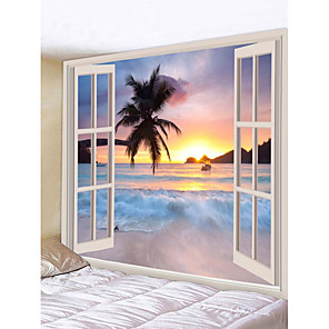 cheap Wall Tapestries-Wall Tapestry Art Decor Blanket Curtain Picnic Tablecloth Hanging Home Bedroom Living Room Dorm Decoration Landscape Window Sea Ocean Beach Coconut Tree Rosy Cloud Sunset Sunrise
