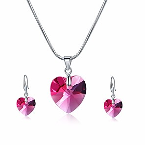 cheap Jewelry Sets-Women's Crystal Drop Earrings Pendant Necklace Stylish Snake Heart Ladies Stylish Sweet Elegant For Mother / Mom Austria Crystal Earrings Jewelry Pink For Party Festival