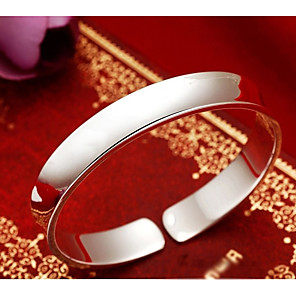 cheap Religious Jewelry-Women's Cuff Bracelet Wide Bangle Classic Stylish Creative Ladies Stylish Classic Elegant Copper Bracelet Jewelry Silver For Daily Date / S925 Sterling Silver