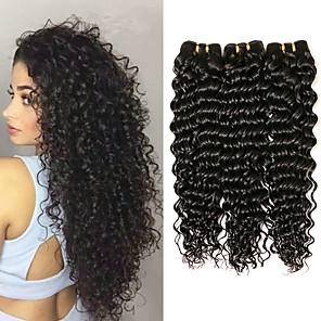 cheap Human Hair Weaves-3 Bundles Deep Wave Human Hair Unprocessed Human Hair 150 g Natural Color Hair Weaves / Hair Bulk Extension Bundle Hair 8-28 inch Natural Color Human Hair Weaves Smooth Hot Sale Thick Human Hair / 8A