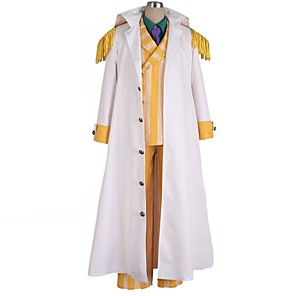 cheap Anime Costumes-Inspired by One Piece Borsalino Anime Cosplay Costumes Japanese Cosplay Suits Color Block Long Sleeve Coat Blouse Pants For Men's / Cloak / Tie / Cloak / Tie