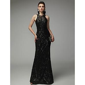 cheap Evening Dresses-Sheath / Column Elegant & Luxurious Open Back Beaded & Sequin Formal Evening Black Tie Gala Dress Jewel Neck Sleeveless Floor Length Sequined with Sequin 2020