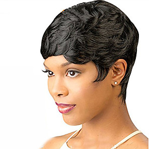 cheap Synthetic Trendy Wigs-Synthetic Wig Wavy Short Bob Wig Short Black#1B Synthetic Hair 6 inch Women's Women With Bangs Black