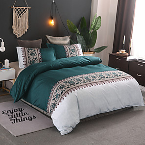 cheap Solid Duvet Covers-Duvet Cover Sets Contemporary Polyster Reactive Print 3 Piece Bedding Set With Pillowcase Bed Linen Sheet Single Double Queen King Size Quilt