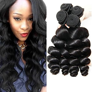 cheap 3 Bundles Human Hair Weaves-4 Bundles Hair Weaves Indian Hair Loose Wave Human Hair Extensions Remy Human Hair 100% Remy Hair Weave Bundles 400 g Natural Color Hair Weaves / Hair Bulk Human Hair Extensions 8-28 inch Natural