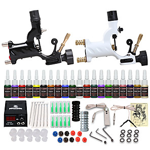 cheap Professional Tattoo Kits-Starter Tattoo Machine Kit - 2 pcs Tattoo Machines with 20 x 5 ml tattoo inks, Professional, Safety, 20 Colors Alloy LCD power supply Case 2 rotary machine liner & shader