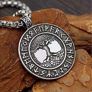 cheap Pendant Necklaces-Men's Pendant Necklace Long Necklace Coin Link / Chain Tree of Life Letter life Tree Geometric Trendy Fashion scottish Alloy Silver 58 cm Necklace Jewelry 1pc For Date Street Cosplay Costumes
