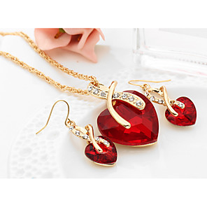 cheap Pearl Necklaces-Women's Synthetic Diamond Jewelry Set Drop Earrings Pendant Necklace Solitaire Heart Love Ladies European Elegant Bridal everyday Crystal Earrings Jewelry Red / Green / Blue For Wedding Party Gift