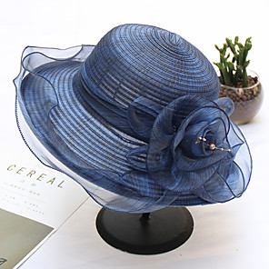 cheap Party Hats-Organza / Straw Hats with Flower 1pc Wedding / Party / Evening / Horse Race Headpiece