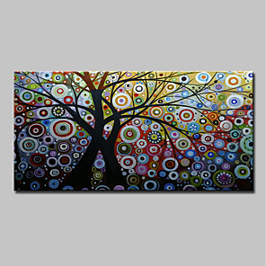 cheap Abstract Paintings-Oil Painting Hand Painted - Abstract / Floral / Botanical Classic / Modern Canvas