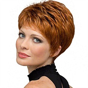 cheap Synthetic Trendy Wigs-Synthetic Wig Straight Pixie Cut Wig Short Copper Brown Synthetic Hair 6 inch Women's Synthetic Red Gray