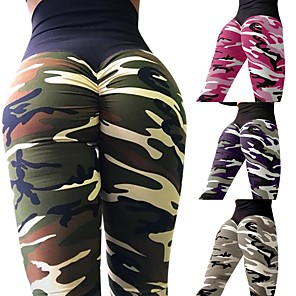 cheap Yoga Clothing-Women's High Waist Yoga Pants Scrunch Butt Ruched Butt Lifting Leggings Tummy Control Butt Lift Camo / Camouflage Purple Army Green Camouflage Fitness Gym Workout Running Winter Sports Activewear