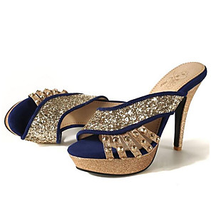 cheap Women's Sandals-Women's Sandals Glitter Crystal Sequined Jeweled Plus Size Stiletto Heel Daily PU Black / Red / Blue
