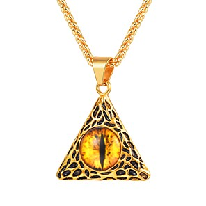 cheap Pendant Necklaces-Men's Citrine Pendant Necklace Vintage Style franco chain Eyes Vintage Fashion scottish Stainless Steel Black Gold Silver 55 cm Necklace Jewelry 1pc For Gift Daily