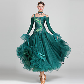 cheap Ballroom Dancewear-Ballroom Dance Dress Appliques Crystals / Rhinestones Women's Performance Long Sleeve High Spandex Organza