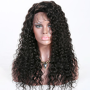 cheap Human Hair Wigs-Remy Human Hair Lace Front Wig Layered Haircut Rihanna style Brazilian Hair Curly Black Wig 150% Density with Baby Hair Best Quality New Women's Long Human Hair Lace Wig Premierwigs