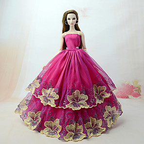 cheap Dolls Accessories-Doll Dress Dresses for Barbie Doll Lace Tulle Lace Cotton Blend Handmade Toy for Girl's Birthday Gifts  / Kids
