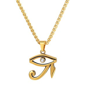 cheap Pendant Necklaces-Men's Pendant Necklace Hollow Out Eye of Horus Fashion egyptian Hip Hop Stainless Steel Black Gold Silver Silver Eye of Horus Golden Eye of Horus 55 cm Necklace Jewelry 1pc For Gift Daily