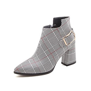 cheap Women's Boots-Women's Boots Plus Size Chunky Heel Pointed Toe Sweet Daily Buckle Plaid / Check PU Booties / Ankle Boots Yellow / Red / EU40