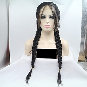 cheap Synthetic Lace Wigs-Synthetic Lace Front Wig Straight Braid Lace Front Wig Medium Length Black#1B Synthetic Hair 24 inch Women's Women Black