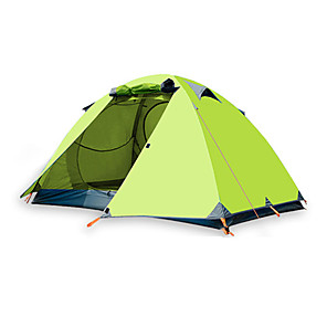 cheap Tents, Canopies & Shelters-BSwolf 2 person Backpacking Tent Outdoor Windproof Rain Waterproof Breathability Double Layered Poled Camping Tent >3000 mm for Fishing Beach Camping / Hiking / Caving Terylene Ultra light Aluminium