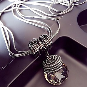 cheap Necklaces-Women's Crystal Pendant Necklace Long Necklace Link / Chain Wire Wrap Ladies European Hyperbole Alloy Silver Blue Pointed Gray Pointed Black Drop Gray Drop 60 cm Necklace Jewelry 1pc For Club Bar