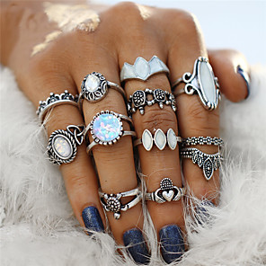 cheap Jewelry Sets-Couple's Ring Nail Finger Ring Midi Ring Onyx Opal 12pcs Silver Acrylic Alloy Geometric Ladies Bohemian Punk Party Halloween Jewelry Retro Hollow Out Flower Turtle Cool Lovely