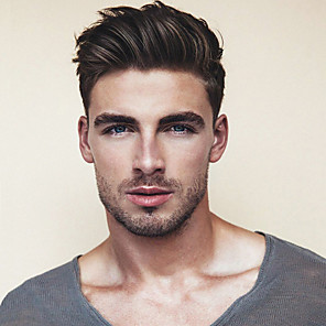 cheap Synthetic Trendy Wigs-Men's Human Hair Toupees Straight Monofilament / 100% Hand Tied Soft