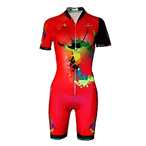 cheap Triathlon Clothing-Malciklo Women's Short Sleeve Triathlon Tri Suit Red Plus Size Bike Reflective Strips Sweat-wicking Sports Lycra Painting Mountain Bike MTB Road Bike Cycling Clothing Apparel / Stretchy / Italian Ink