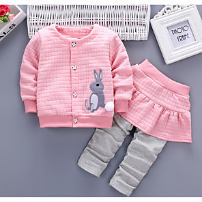 cheap Kids Collection Under $8.99-Baby Girls' Basic Daily Solid Colored / Color Block Patchwork Long Sleeve Regular Regular Cotton Clothing Set Red