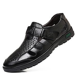 cheap Men's Sandals-Men's Comfort Shoes Leather Summer Sandals Black / Brown / EU40