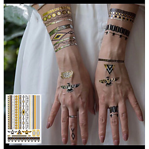 cheap Tattoo Stickers-3 pcs Temporary Tattoos Eco-friendly / New Design Body / brachium / Wrist Water-Transfer Sticker Metallic Tattoo / Metallic jewelry tattoos / Decal-style temporary tattoos