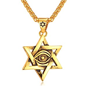 cheap Pendant Necklaces-Men's Pendant Necklace Vintage Style Artisan franco chain Eyes Star Pentagram Dangling Vintage scottish Hip Hop Stainless Steel Gold Silver 55 cm Necklace Jewelry 1pc For Gift Daily