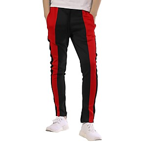 cheap Running & Jogging Clothing-Men's Joggers Jogger Pants Streetwear Track Pants Sweatpants Athleisure Wear Bottoms Patchwork Cotton Fitness Gym Workout Workout Thermal Warm Breathable Plus Size Sport Black Yellow Orange Green