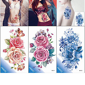 cheap Tattoo Stickers-decal-style-temporary-tattoos-tattoo-sticker-body-arm-chest-temporary-tattoos-3-pcs-flower-series-romantic-series-eco-friendly-new-design-body-arts