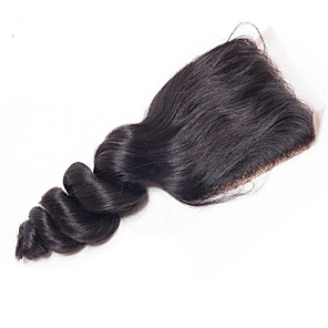 cheap 3 Bundles Human Hair Weaves-Yavida Brazilian Hair 4x4 Closure / Free Part Wavy Free Part Swiss Lace Human Hair Women's Soft / Silky / African American Wig Christmas Gifts / Party / Anniversary / For Black Women