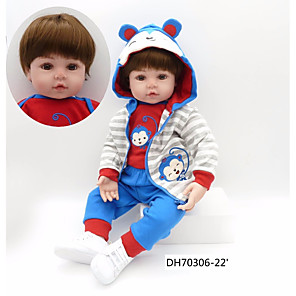 cheap Reborn Doll-NPKCOLLECTION 24 inch NPK DOLL Reborn Doll Baby Boy Reborn Toddler Doll Cute Artificial Implantation Brown Eyes Cloth 3/4 Silicone Limbs and Cotton Filled Body with Clothes and Accessories for Girls