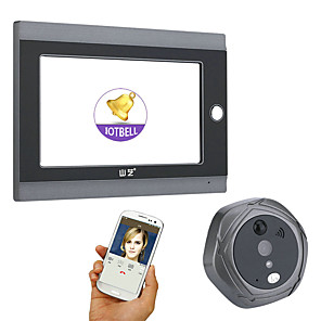 cheap Video Door Phone Systems-MOUNTAINONE® 720P WiFi Wireless Digital Peephole Door Viewer 7inch Front Video Door Peephole Camera Wifi Doorbell with Intercom or take picture or take video